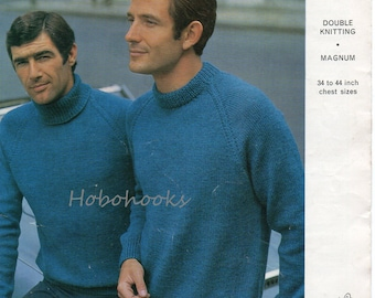 Mens Knitting Pattern , mens sweater pattern , mens jumper pattern, pullover,crew neck ,polo neck, 34 - 44 inches- DK - PDF instant download