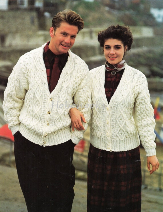 18142f409 womens mens aran cardigan knitting pattern pdf ladies cable