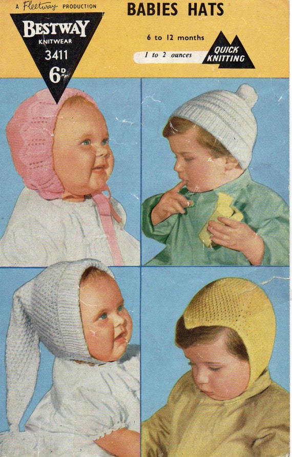Baby Hats Knitting Pattern Pdf Vintage 1950s Baby Hats Bonnets Etsy