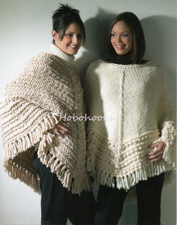 Womens Super Chunky Ponchos Knitting Pattern Pdf Ladies Etsy