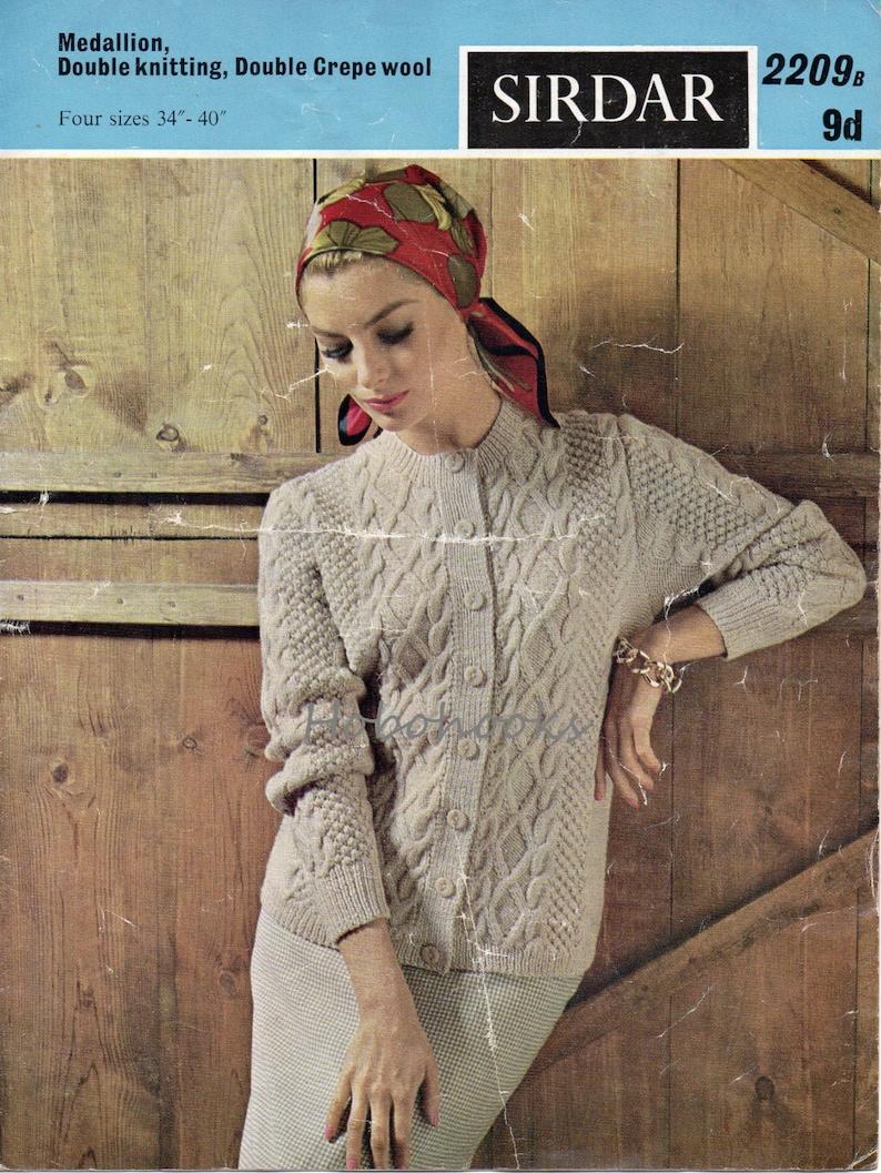 c57011935 Vintage womens aran cardigan knitting pattern PDF ladies cable