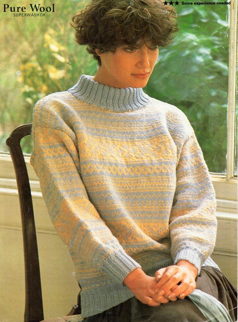 c35767d2b80 Ladies Fair Isle sweater knitting pattern pdf DK womens fair