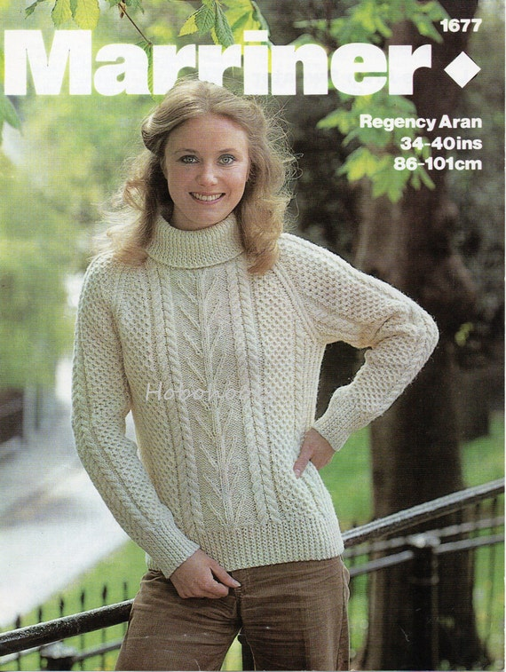 Womens Knitting Pattern Womens Aran Sweater Polo Neck Crew Etsy
