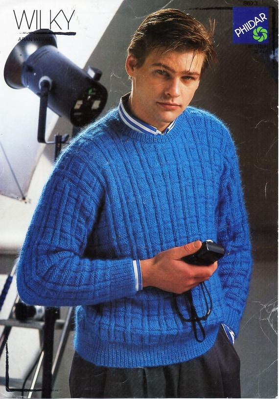 Mens Sweater Knitting Pattern Pdf Mens Round Neck Jumper Etsy