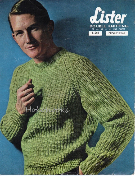 Mens Ribbed Sweater Knitting Pattern Fishermans Rib Sweater Etsy