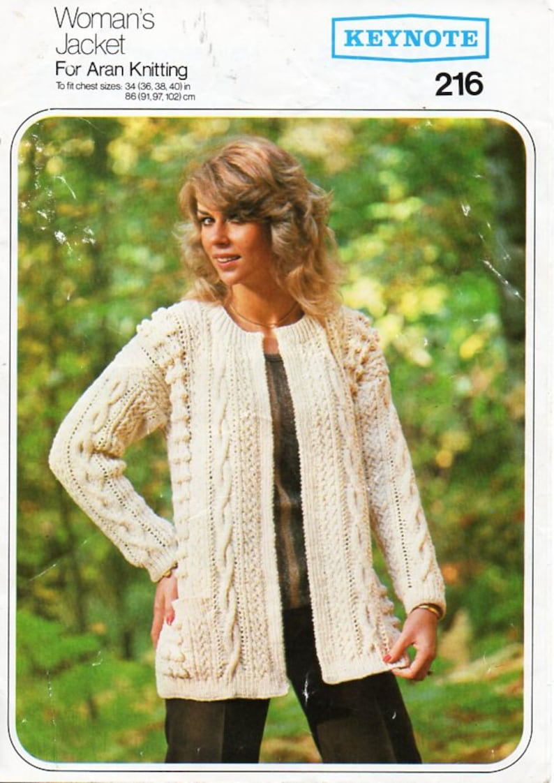 ba5b6f4511b3ef Vintage womens aran jacket knitting pattern pdf ladies edge to