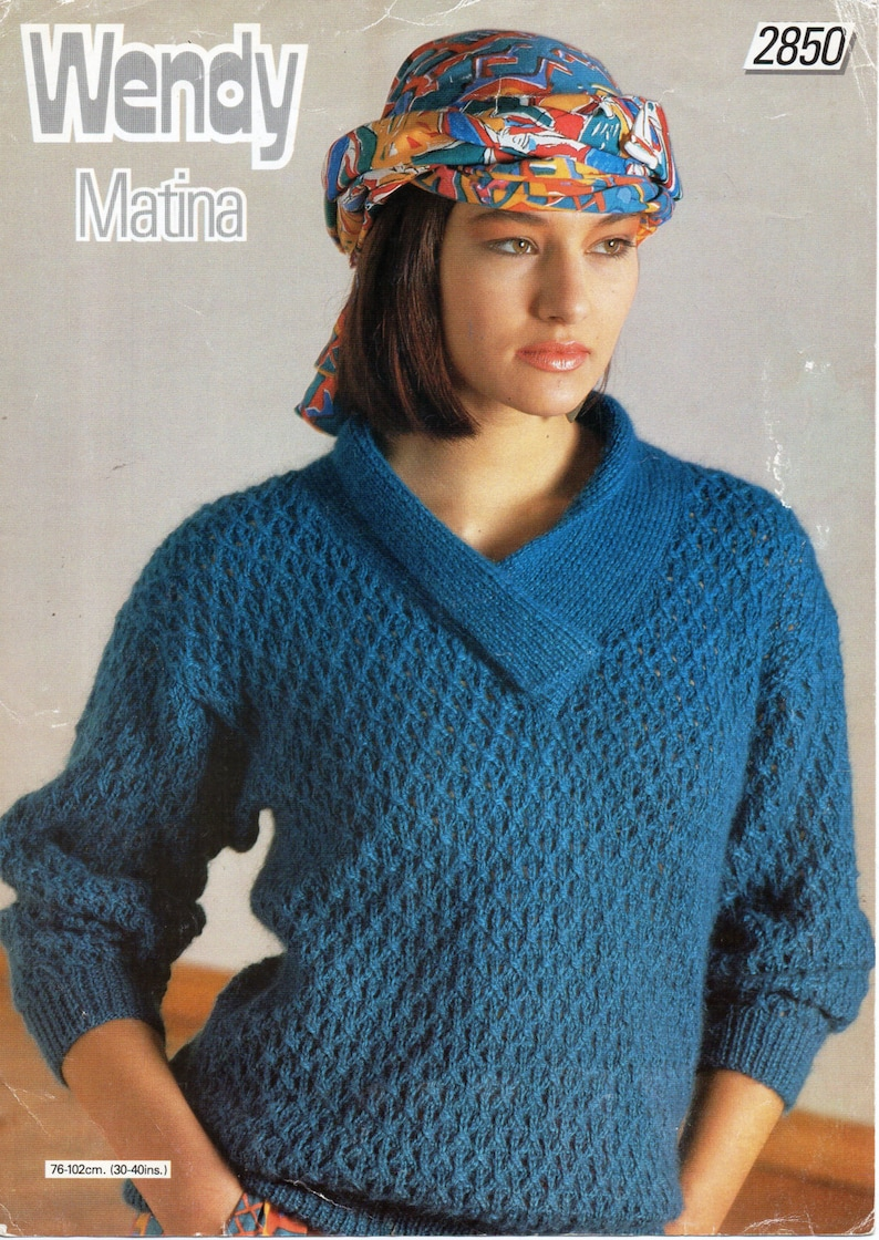 2f2094ce6ea7 Womens knitting pattern pdf ladies lacy sweater crossover v