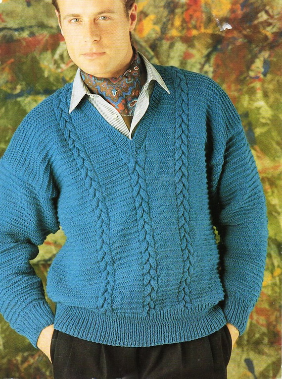 a4ea02bfc13a1 mens sweater knitting pattern pdf mens cable v neck jumper