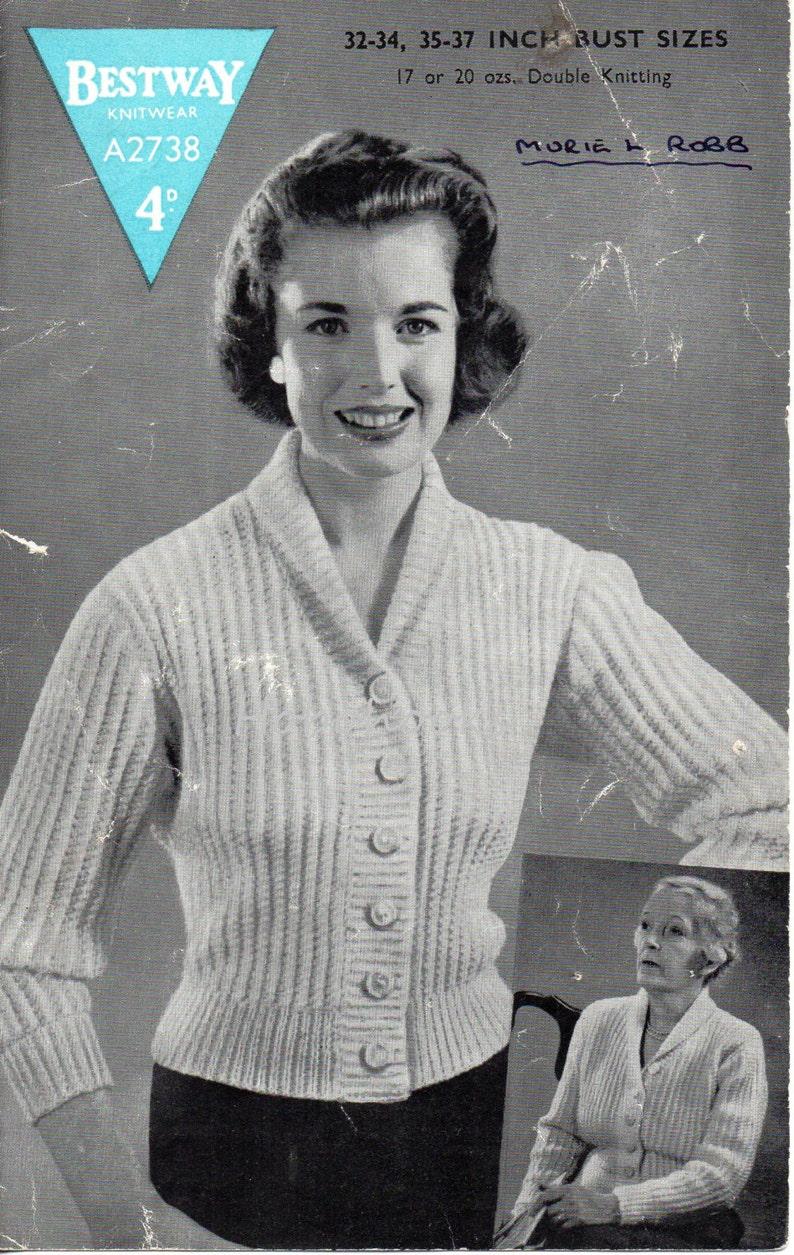 4ccbde91b879 Vintage womens rib cardigan knitting pattern PDF ladies shawl
