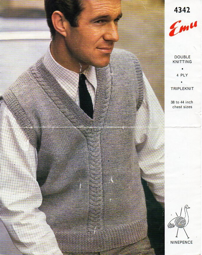 Mens Knitting Pattern PDF mens Pullover mens Slipover | Etsy