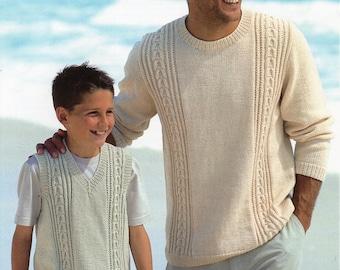 Mens Knitting Pattern Mens Sweater Mens Slipover Boys Sweater Boys Slipover 28-50 inch DK Mens Knitting Patterns PDF Instant Download