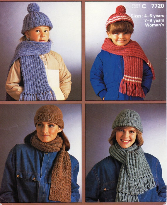 542702d8064 womens hat   scarf sets knitting pattern childrens hat scarf