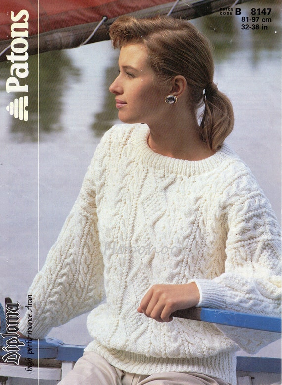 Womens Knitting Pattern Ladies Aran Sweater Womans Aran Etsy