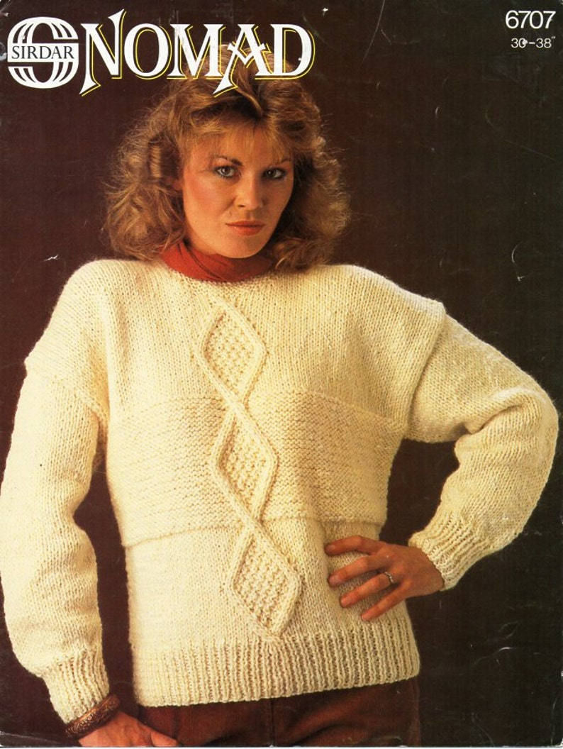 37c39702613a6 Vintage womens chunky cable sweater knitting pattern pdf