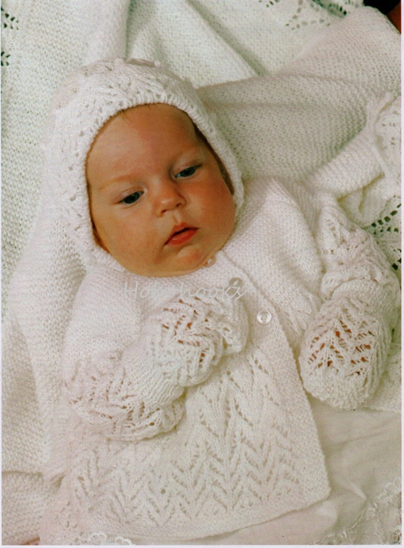 23bd1caac Baby Layette Knitting Pattern PDF download 3ply Baby Matinee