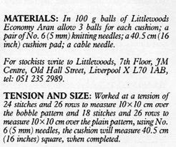 Fancy Knitting Pattern For Aran Cushion Cover Frieze Sewing Ideas