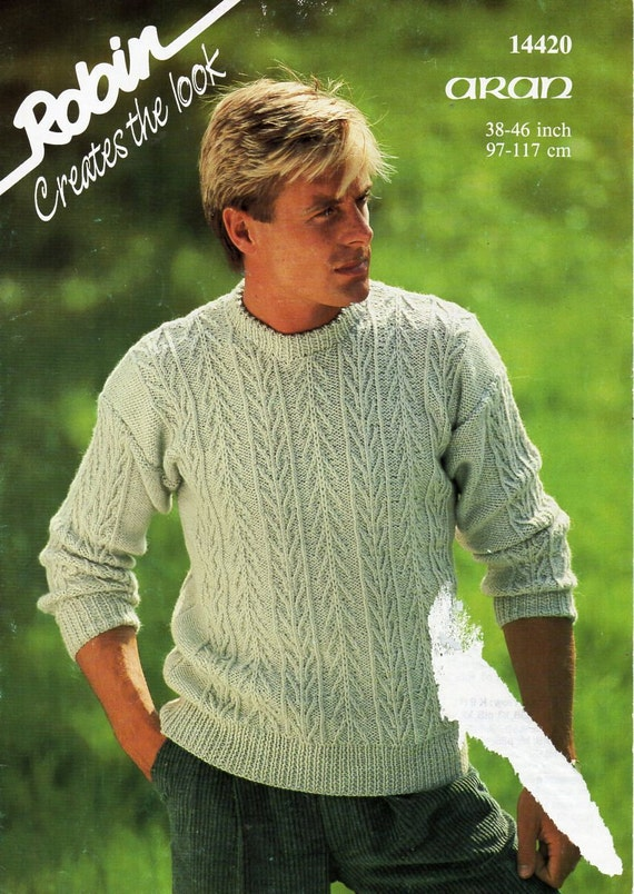 d87ac6d8027d mens aran sweater knitting pattern pdf cable crew neck jumper
