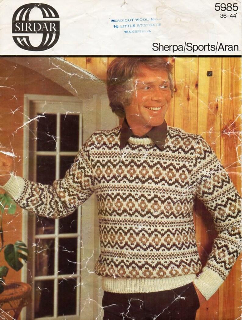 b6ce160b5 Vintage mens fair isle sweater knitting pattern PDF mens fair