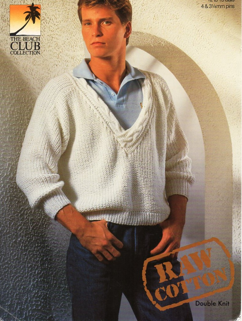 Mens Sweater Knitting Pattern Pdf Mens Low V Neck Jumper Etsy