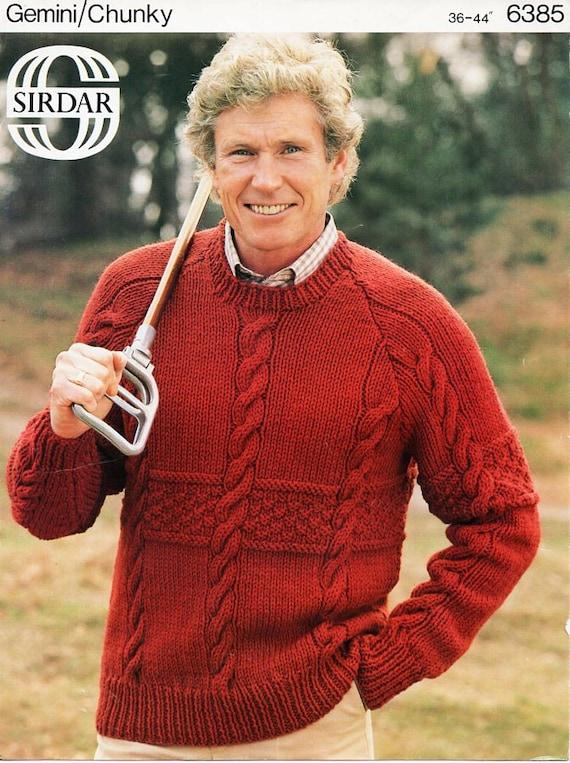 83e8e8d927b2c mens sweater knitting pattern PDF chunky mens cable jumper
