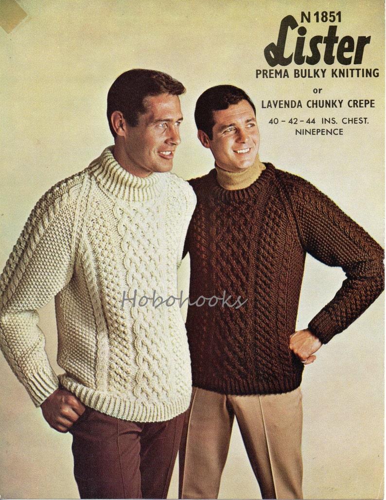 Mens chunky aran sweater knitting pattern pdf mans cable  71ecca6b3