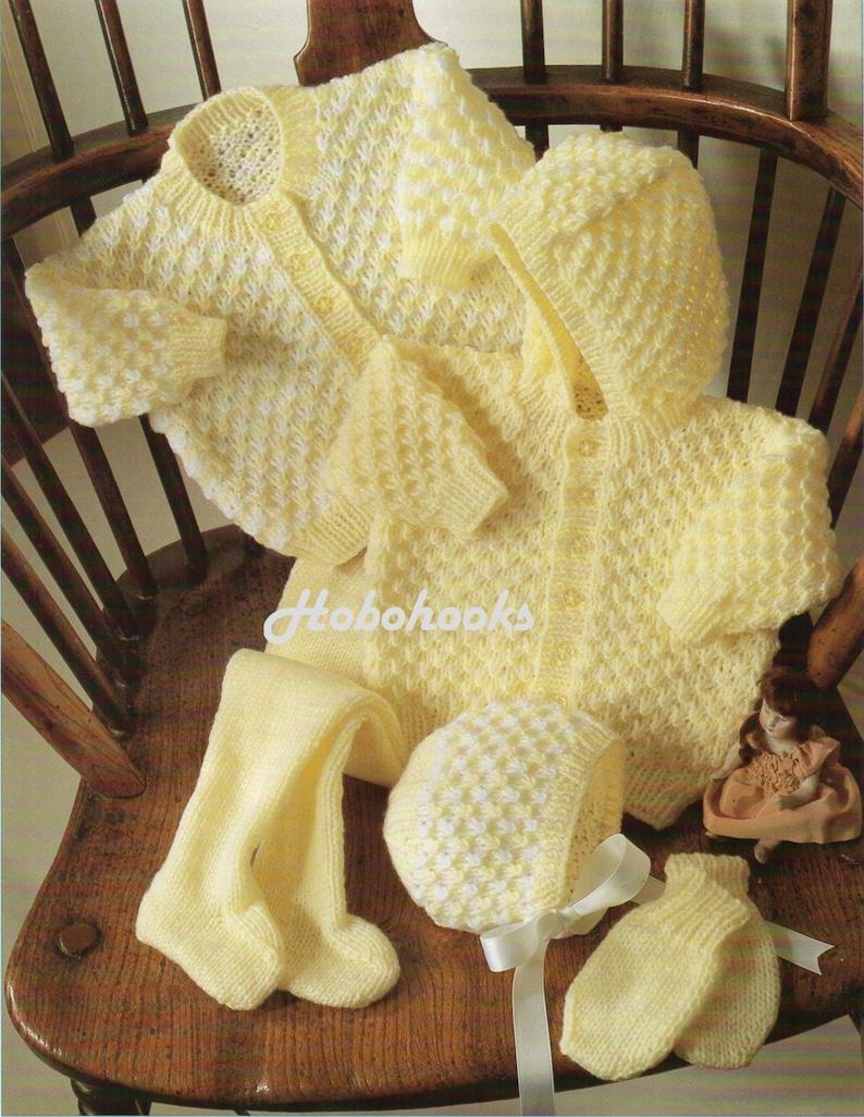 23bece886 Baby Knitting Patterns Baby Pram Set Hooded Jacket Cardigan
