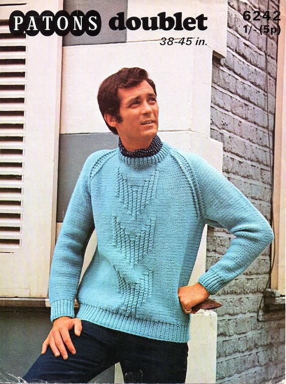Mens Chunky Sweater Knitting Pattern Pdf Mans Jumper Crew Neck Etsy