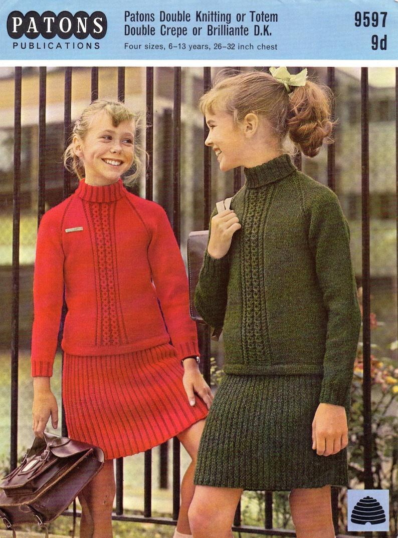 Vintage girls sweater skirt suit knitting pattern pdf polo  f1c0d9e4b