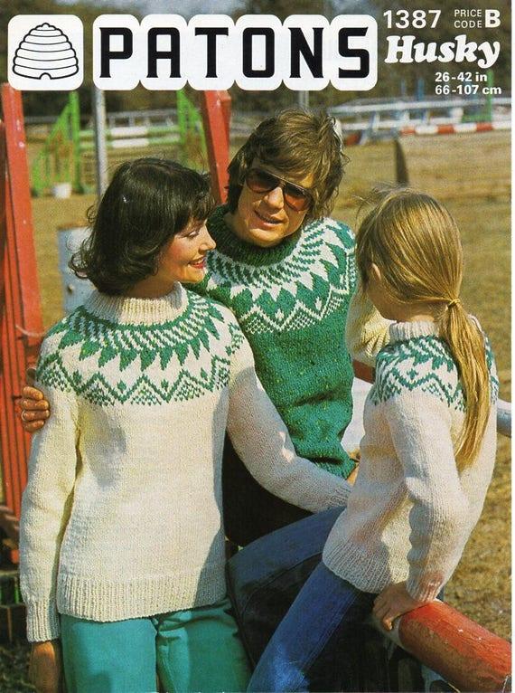 237a564cfa45f womens mens childrens fair isle sweater knitting pattern pdf