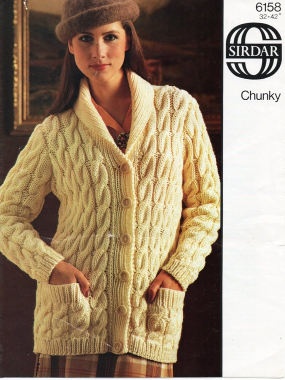 Vintage Womens Chunky Cable Cardigan Knitting Pattern Pdf Etsy