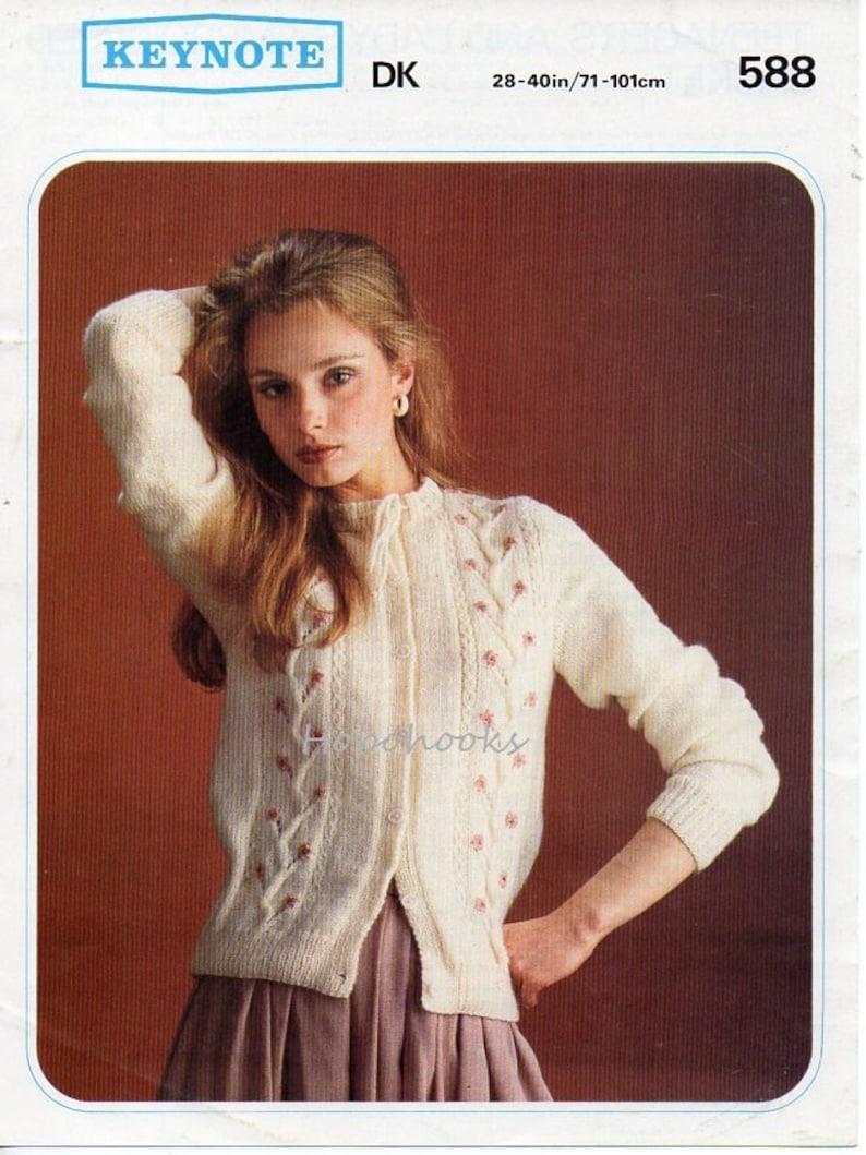fb0f05f63c6899 Vintage womens cardigan knitting pattern pdf embroidered