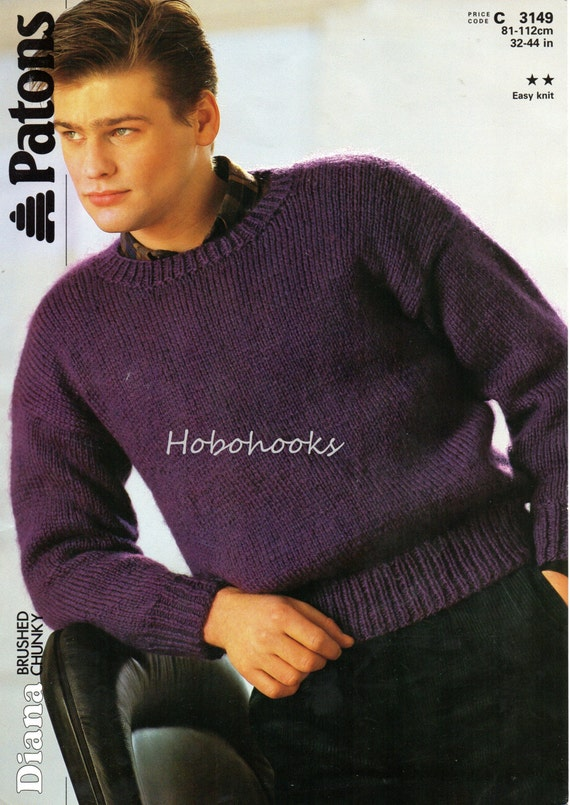 Mens Knitting Pattern Mens Sweater Mens Jumper Chunky Sweater Etsy