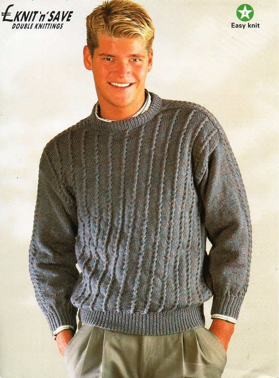Mens Sweater Knitting Pattern Pdf Mens Crew Neck Jumper Etsy