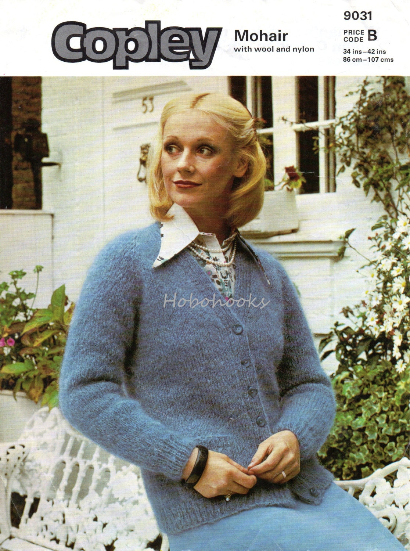 Womens Knitting Pattern Pdf Womens Mohair V Neck Cardigan Etsy