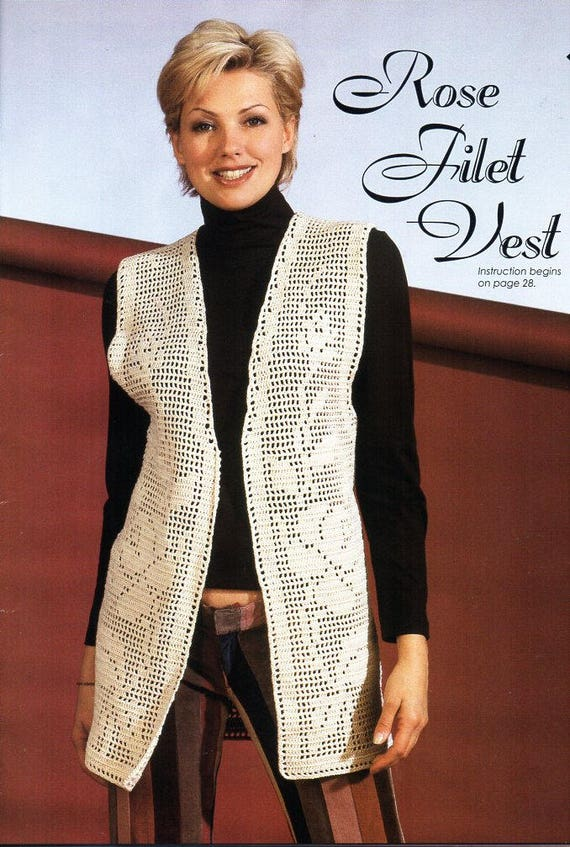 Womens Crochet Rose Filet Vest Crochet Pattern Pdf Ladies Etsy