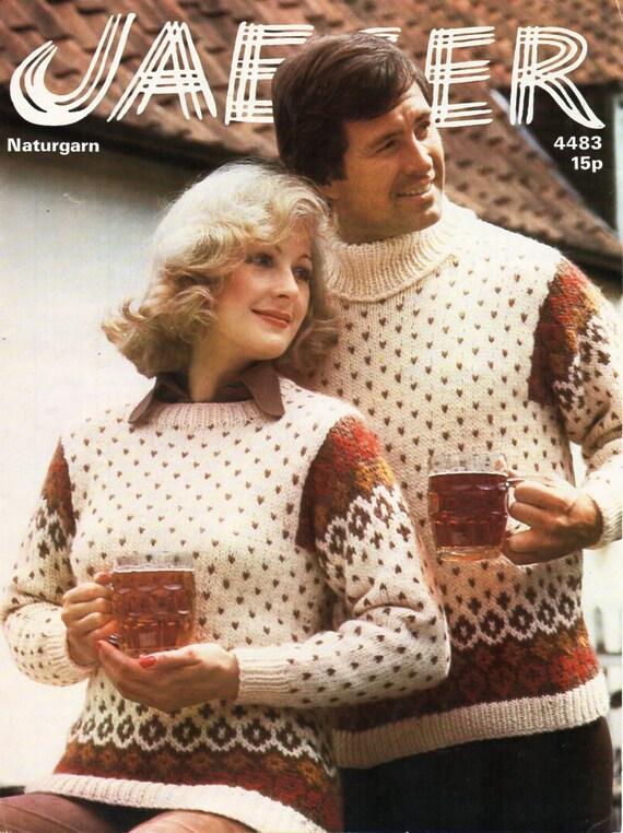 95ec4ebd630b4 womens   mens fair isle sweater knitting pattern PDF chunky