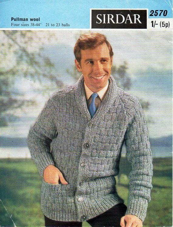 Mens Knitting Pattern Pdf Download Mens Cardigan Knitting Etsy