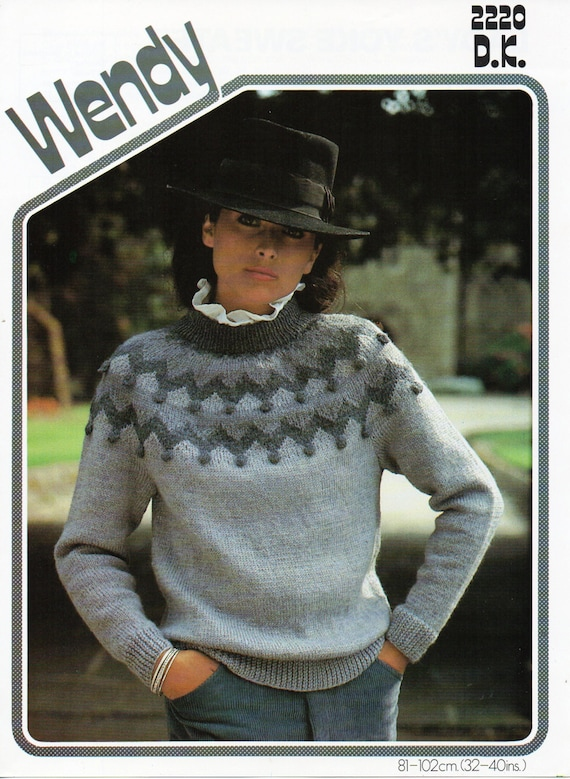 dcb2da0313c02 womens fair isle sweater knitting pattern fair isle yoke 32-40
