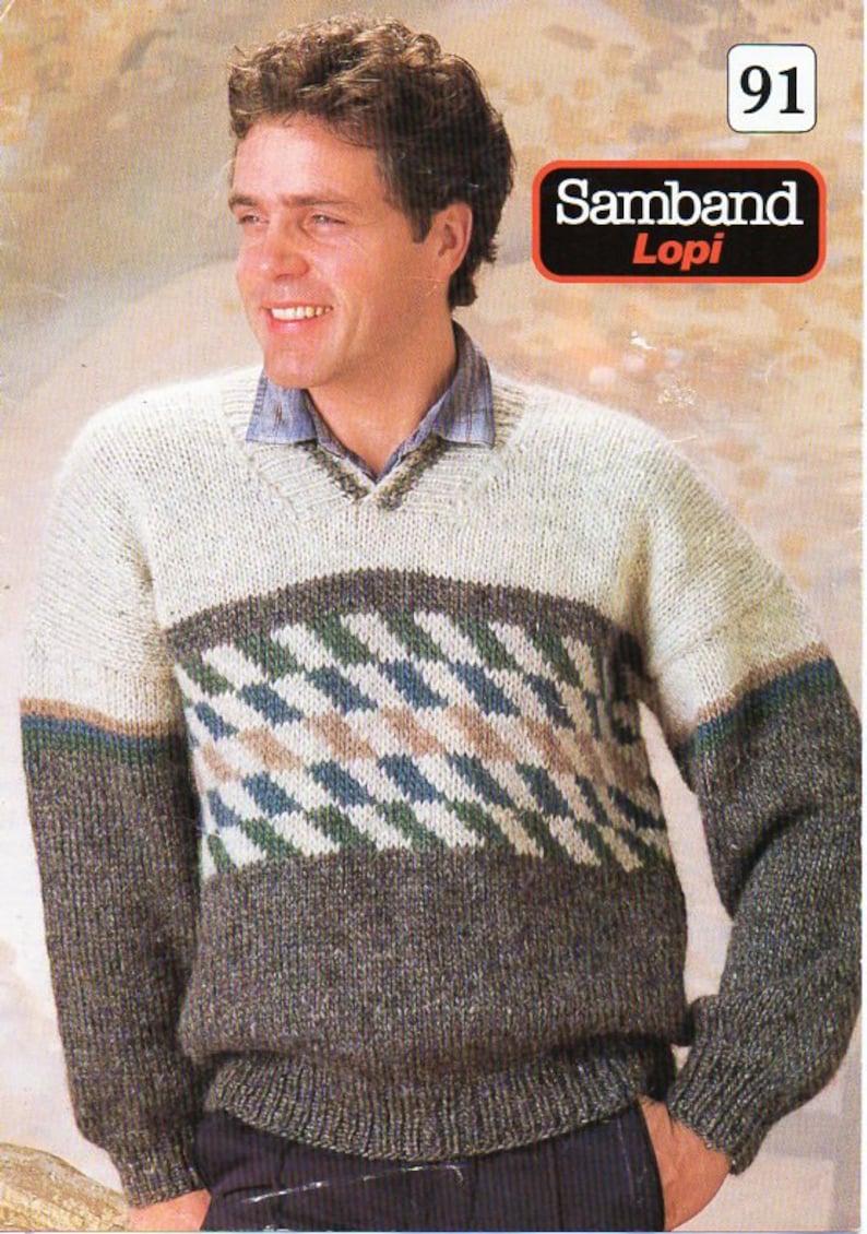 f67c49cff9809 mens sweater knitting pattern pdf mens v neck jumper colour block intarsia  34-44