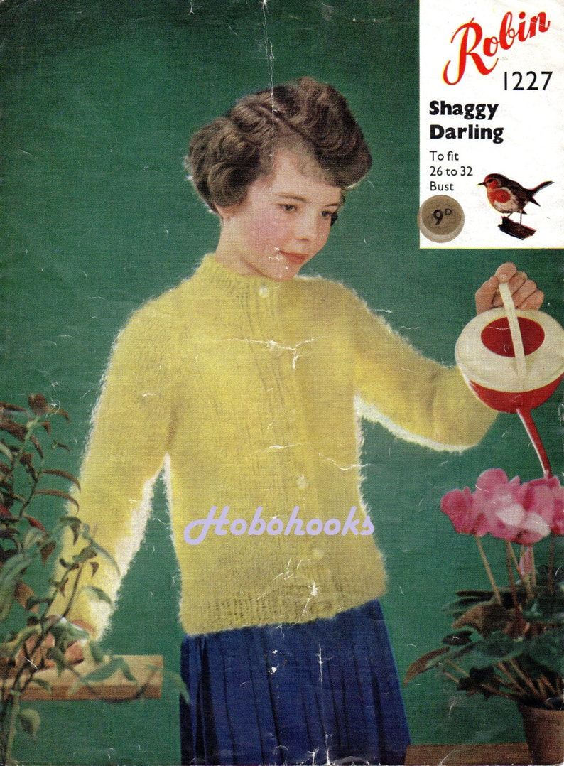 bc6d0b11d645 Girls mohair cadigan knitting pattern vintage 1950s 26-32 inch