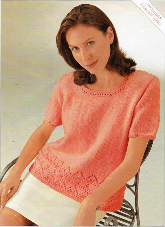 Womens Knitting Pattern Womens Lace Border Sweater Lace Jumper Etsy