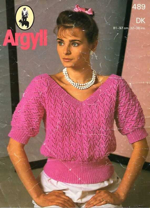 Womens Top Knitting Pattern Pdf Dk Womens Short Sleeve Sweater Etsy