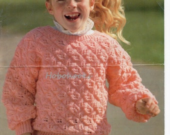 girls lacy sweater knitting pattern DK / light worsted / 8 ply 22-32 Inch childrens knitting pattern pdf instant download