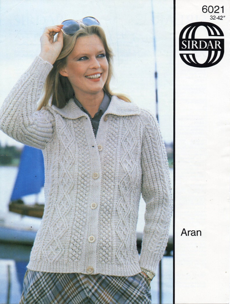 7b49a24298c401 Vintage womens aran cardigan knitting pattern pdf ladies cable