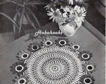 Crochet flower doily crochet pattern pdf vintage 1960s thread crochet anemone flower centrepiece  doily PDF Instant Download
