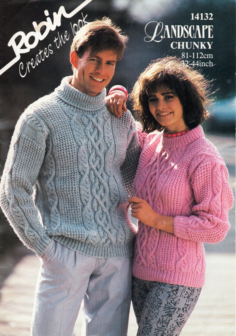 c893c57fd93af7 Aran sweater knitting pattern pdf womens mens chunky cable