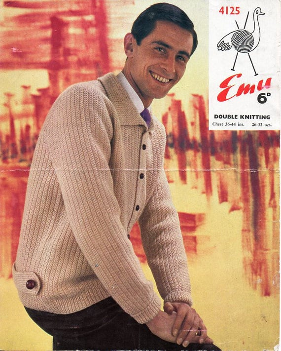 "Double Knit 36-44"" EMAIL PDF pattern PDF knitting pattern Men's Cardigan"