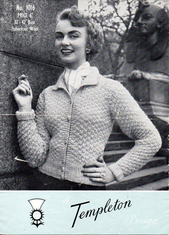 vintage ladies cardigans knitting pattern pdf womens fitted | Etsy