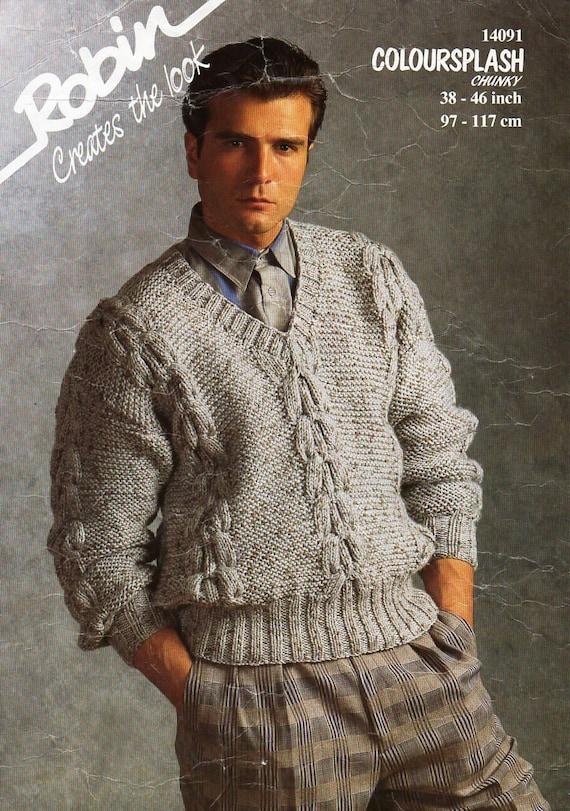 Mens Chunky Sweater Knitting Pattern Pdf Bulky Cable V Neck Etsy