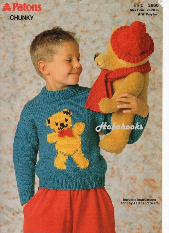 Childs Childrens Teddy Bear Sweater Knitting Pattern Pdf Etsy